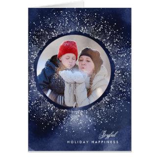 Navy White Snowflake Christmas Holiday Photo Card