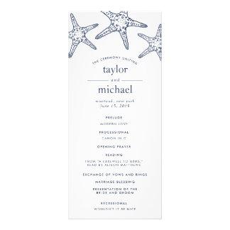 Navy & White Starfish Wedding Ceremony Program Rack Card