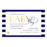 Navy & White Stripe Baby Boy Shower Gold Accents Custom Invitation