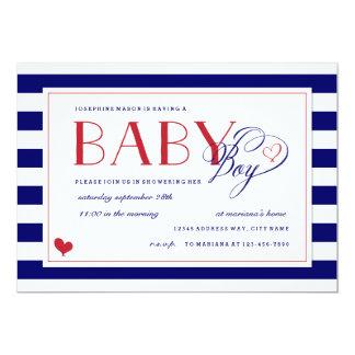 Navy & White Stripe Baby Boy Shower Red Accents Card