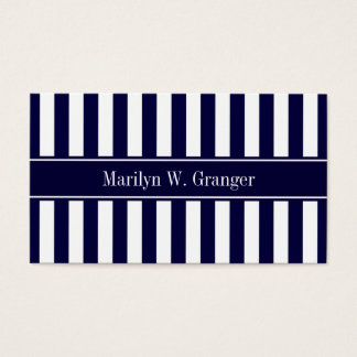 Navy White Stripe Navy Blue Ribbon Name Monogram Business Card
