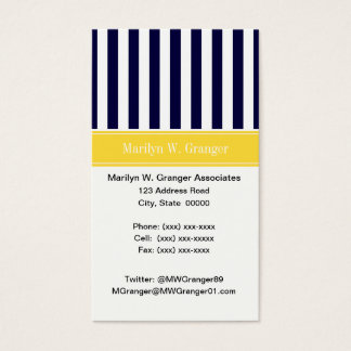 Navy White Stripe Pineapple Ribbon Name Monogram Business Card
