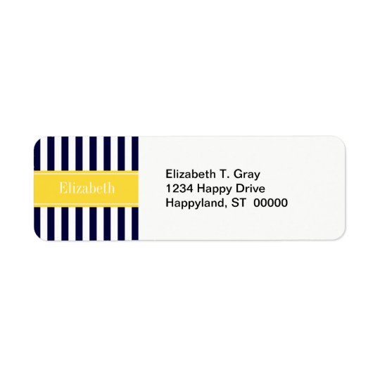 Navy White Stripe Pineapple Ribbon Name Monogram Return Address Label