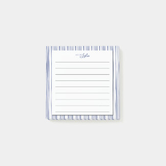 Navy & White Striped A Note From Monogram Notepad