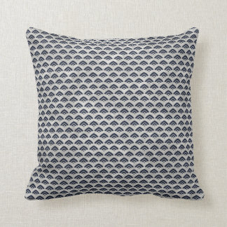 Navy White Vintage Pattern Fabric Look Pillow