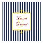 Navy, White, Yellow, Red Stripes & Scrolls Invite