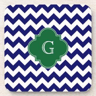 Navy Wht Chevron Forest Green Quatrefoil Monogram Coaster