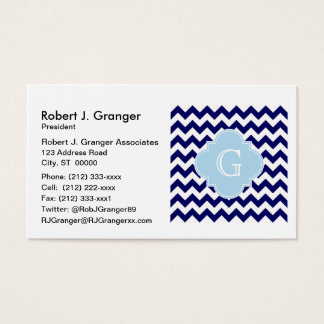 Navy Wht Chevron Lt Blue Quatrefoil Monogram Business Card