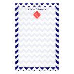 Navy Wht Chevron Zigzag Coral Quatrefoil Monogram Personalized Stationery