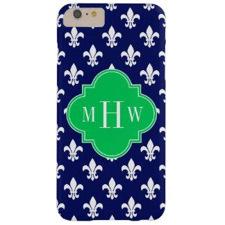 Navy Wht Fleur de Lis Emerald 3 Initial Monogram Barely There iPhone 6 Plus Case