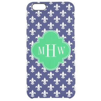 Navy Wht Fleur de Lis Emerald 3 Initial Monogram Clear iPhone 6 Plus Case