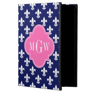 Navy Wht Fleur de Lis Hot Pink 3 Initial Monogram