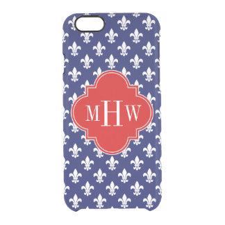 Navy Wht Fleur de Lis Red 3 Initial Monogram Clear iPhone 6/6S Case