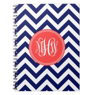 Navy Wht LG Chevron Coral Red Vine Script Monogram Spiral Notebooks