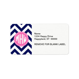 Navy Wht LG Chevron Hot Pink Circle 3I Monogram Address Label