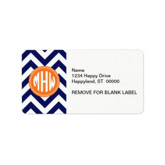 Navy Wht LG Chevron Pumpkin Circle 3I Monogram Address Label