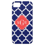 Navy Wht Moroccan #5 Coral Red 3 Initial Monogram
