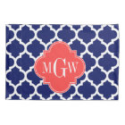 Navy Wht Moroccan #5 Coral Red 3 Initial Monogram Pillowcase