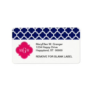 Navy Wht Moroccan #5 Raspberry 3 Initial Monogram Label