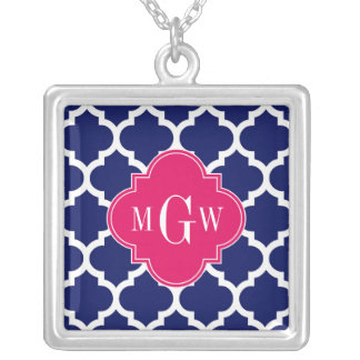 Navy Wht Moroccan #5 Raspberry 3 Initial Monogram Square Pendant Necklace