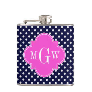 Navy Wht Polka Dot Hot Pink Quatrefoil 3 Monogram Hip Flask