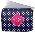 Navy Wht Polka Dot Raspberry Quatrefoil 3 Monogram Laptop Sleeve