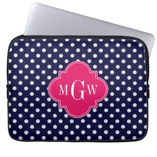 Navy Wht Polka Dot Raspberry Quatrefoil 3 Monogram Laptop Sleeve