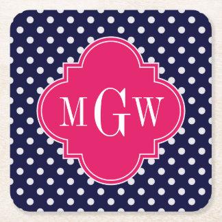 Navy Wht Polka Dot Raspberry Quatrefoil 3 Monogram Square Paper Coaster