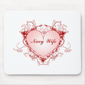 Navy Wife Heart Mouse Pad
