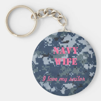 Navy Wife, I love my sailor Basic Round Button Key Ring