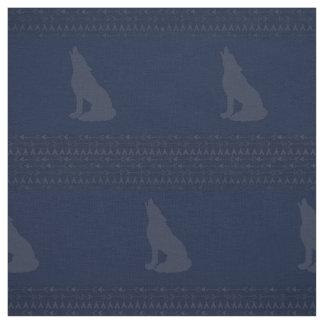 Navy Wolf Fabric