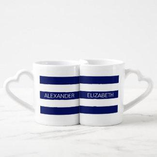 Navy Wt Horizontal Preppy Stripe #2 Name Monogram Lovers Mug