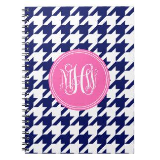 Navy Wt Houndstooth Hot Pink 3 Init Vine Monogram Spiral Note Books