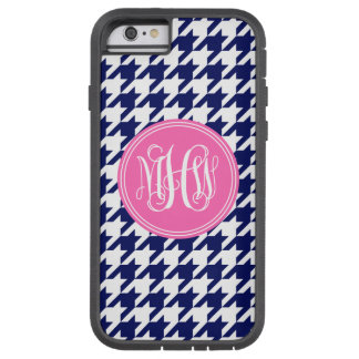 Navy Wt Houndstooth Hot Pink 3 Init Vine Monogram Tough Xtreme iPhone 6 Case