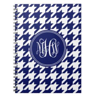 Navy Wt Houndstooth Navy 3 Init Vine Monogram Note Book