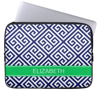 Navy Wt Med Greek Key Diag T Emerald Name Monogram Laptop Sleeve