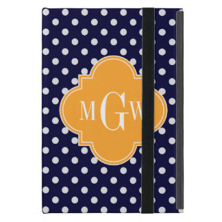 Navy Wt Polka Dot Cantaloupe Quatrefoil 3 Monogram iPad Mini Cover