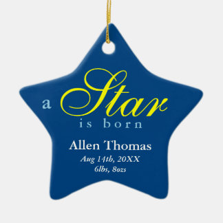Navy yellow a star is born baby name announcement ceramic ornament