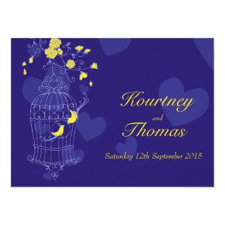 Navy & yellow birds open cage wedding invitation