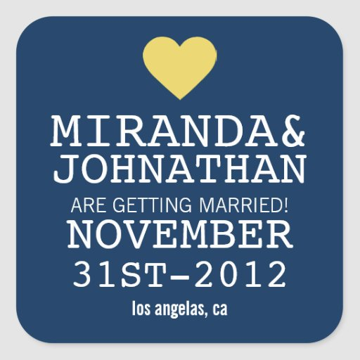 Navy & Yellow Bold Heart Save The Date Stickers