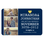 Navy & Yellow Photo Strip Save The Date  Magnet