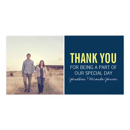 Navy & Yellow Photo Thank You Cards Customized Photo Card