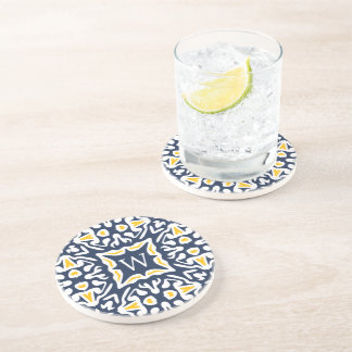 Navy & Yellow Spanish Tile Monogram Coaster