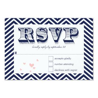Navy Zig Zag Typography Wedding RSVP Card