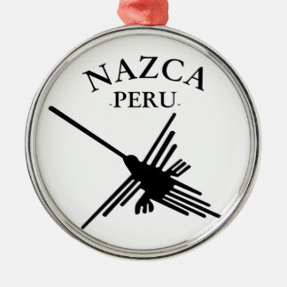 Nazca Peru Hummingbird With Curved Text Metal Ornament