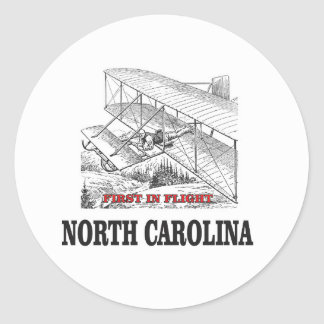 NC first in flight Classic Round Sticker