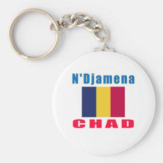 N'Djamena Chad capital designs Basic Round Button Key Ring