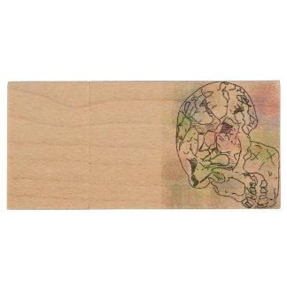 Neanderthal Skull watercolour Wood USB 3.0 Flash Drive
