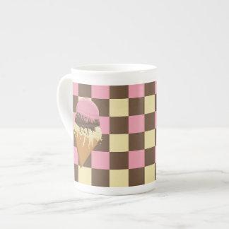 Neapolitan Ice Cream Bone China Mug Checkered Tea Cup