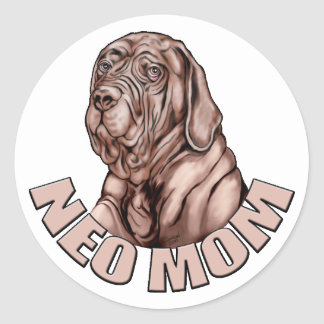 Neapolitan Mastiff Mom Mahogany UC Classic Round Sticker